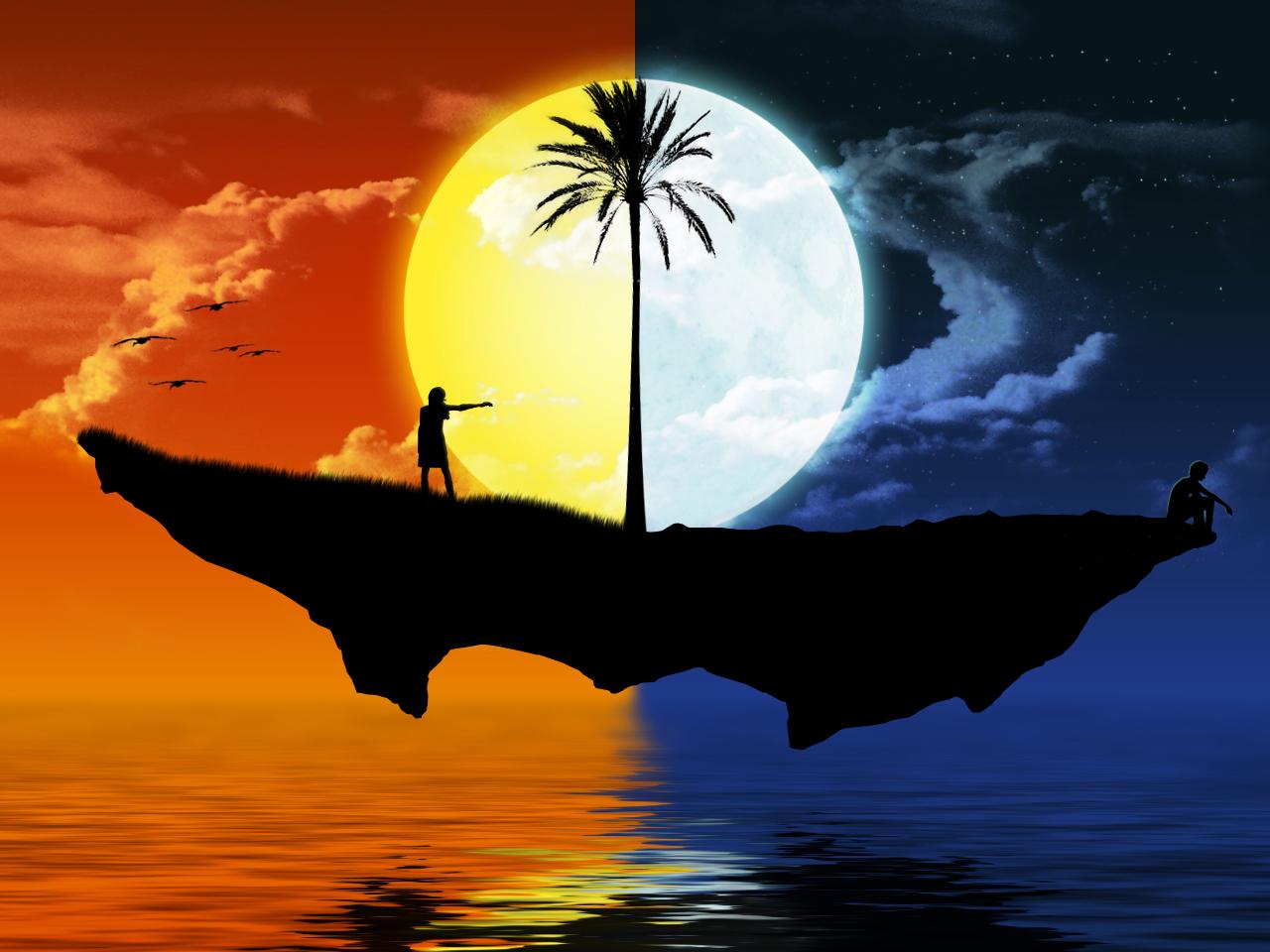 Dia Noche Islote Flotando Sol Luna Oceano